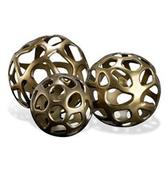 Ava Sculptural Modern Rustic Metal Sphere Sculptures- Set of 3