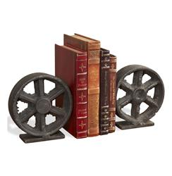 Barco Industrial Iron Rustic Wheel Bookends | 875084