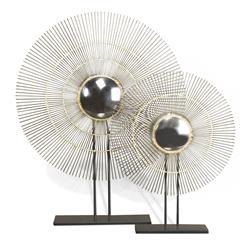 Marlo Gold Modern Convex Sunburst Mirror Sculptures- Set of 2