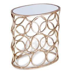Brigit Modern Antique Silver Leaf Champagne Finish Circle Side Table | 128065