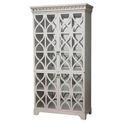 Oly Studio Elisabeth French Country Antiqued White Glass Armoire