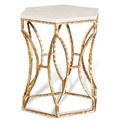 Roja Antique Gold Leaf Cream Marble Hexagonal Side Table | 128066