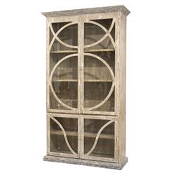 French Country Taupe Oak Reclaimed Wood Cabinet Vitrine | BLISS-CA-4805