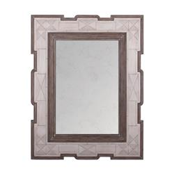 Jemaa Global White Bone Border Brown Frame Wall Mirror