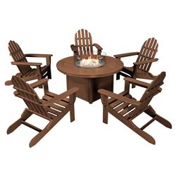 Claire Coastal Brown Adirondack Recycled Outdoor Fire Pit Set- 6 Piece