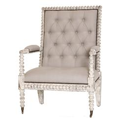 Bordeaux French Country Button Tufted Taupe Loft Armchair