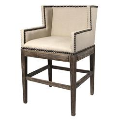 French Country Contemporary Nailhead Linen Counter Stool | BLISS-SE-6510-D