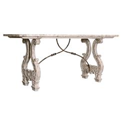 Italian Lyre Base Rustic Country Antique Console Table