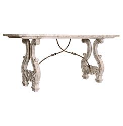 Italian Lyre Base Rustic Country Antique Dining Table