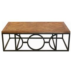 Circle Parquet French Contemporary Wood Coffee Table