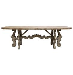 French Country Rustic Scroll Farmhouse Dining Table | BLISS-TA-4169