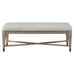 Serena French Country White Upholstered Grey Wood Bench