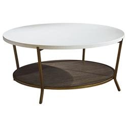 Norman Modern Classic White Stone Top Brown Metal Round Round Coffee Table