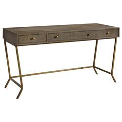Norman Modern Classic Brown Wood Bronze Metal Console Desk