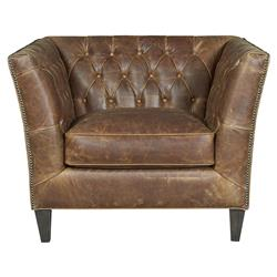 Denver Industrial Brown Leather Tufted Nailhead Trim Occasional Arm Chair