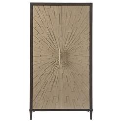 Zeya Mid Century Modern Starburst Gold Imprint Brown Wood Wardrobe Cabinet