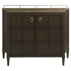 Zela Mid Century Modern Stone Top Brown Wood Bar Cabinet