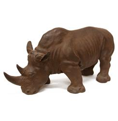 Rhino Rustic Bronze Antiqued Statue Safari Sculpture