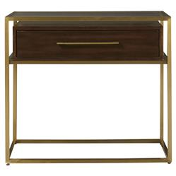 Wyatt Modern Classic Glass Top Brown Wood Metal Nightstand