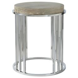 Aaron Modern Classic Grey Wood Top Stainless Steel Round Side End Table