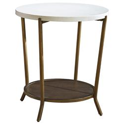 Sasha Modern Classic White Stone Top Brown Metal Round Side End Table