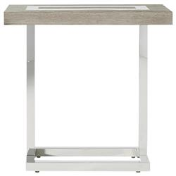 Tassilo Modern Classic Brown Wood Top Stainless Steel Side End Table