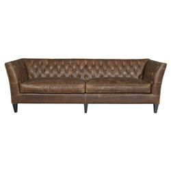 Denver Industrial Brown Leather Tufted Nailhead Trim Sofa
