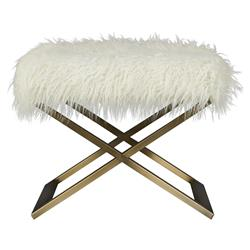 Sheena Hollywood Regency White Fur Bronze Metal Stool