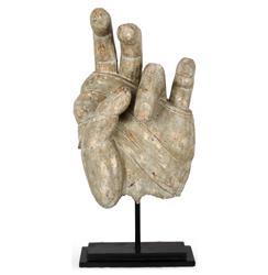 Carved Wooden Hand Vintage Sculpture