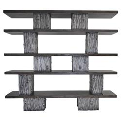 Oly Studio Tuck Industrial Loft Grey Wood 5 Shelves Bookcase