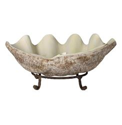 La Mer Coastal Decorative Clam Shell Bowl Sculpture On Stand