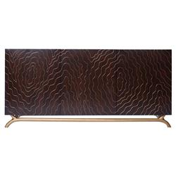 Brass Inlay Hollywood Regency Faux Bois Contemporary Media Cabinet | EMP-FC-5009