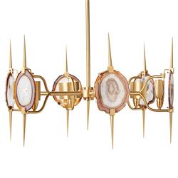 Eclipse Satin Brass Natural Agate Stone 6 Light Chandelier