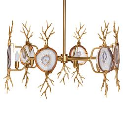 Branch Satin Brass Natural Agate Stone 6 Light Chandelier