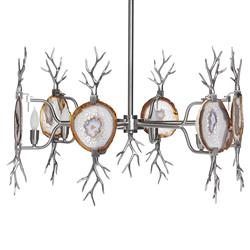 Branch Satin Nickel Natural Agate Stone 6 Light Chandelier | EMP-LC-2004N