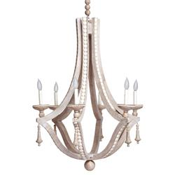 Limed Wood Coastal Beach Cabochon Inlay 6 Bulb Chandelier | EMP-LC-2006C