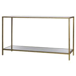 Modern Hollywood Regency Glamour Gold Studded Console