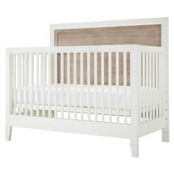 Haya Modern White Wood Brown Accent Crib