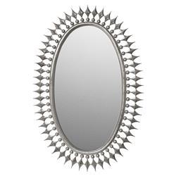 Wellington Oval Hollywood Regency Sunburst Radiant Mirror - Silver