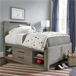 Claire Rustic Grey Metal Accent Wood Storage Bed - Twin