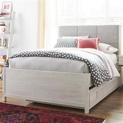 Janelle Modern Grey Upholstered Headboard Wood Trundle Bed - Twin