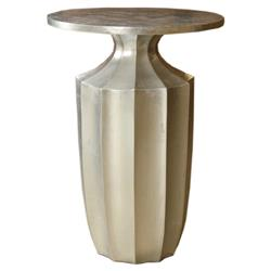 Flirt Art Deco Regency Modern Fluted Silver Side Table