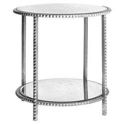 Round Silver Leaf Studded End Table with Antique Mirror