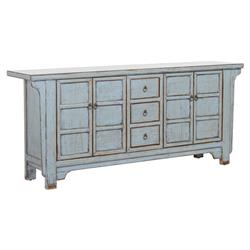 Alan Rustic Lodge 3-Drawer 4-Door Distressed Light Blue Sideboard