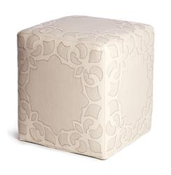 Brighton Cream Leather Linen Contemporary Cube Ottoman | EMP-FO-6000CC