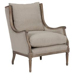 Grey Chair with Dark Wood Frame