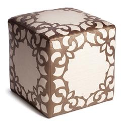Brighton Bronze Leather Linen Contemporary Cube Ottoman