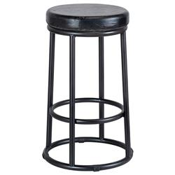 Casey Industrial Lodge Black Reclaimed Pine Wood Seat Iron Base Counter Stool