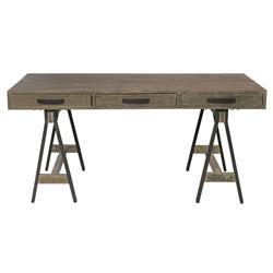 Edward Industrial Loft Black Iron 3-Drawer Grey Pine Wood Desk