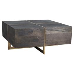 Felix Modern Classic Brass Inlaid Espresso Wood Square Coffee Table